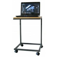 Laptop table made of metal profiles and alder tabletop. Height is adjustable. Made by Neo-Spiro.