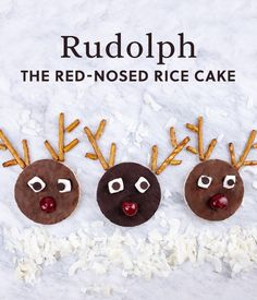Lundberg Sweet Dreams rice cake reindeer. A fun idea that's easy to make with pretzels, chocolate chips, whipped cream and cherries.