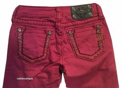 Miss Me Girls / Kids Size 10 Burgundy Embellished Skinny Jeans JK5408S10 NWT #MissMe #SlimSkinny #Everyday