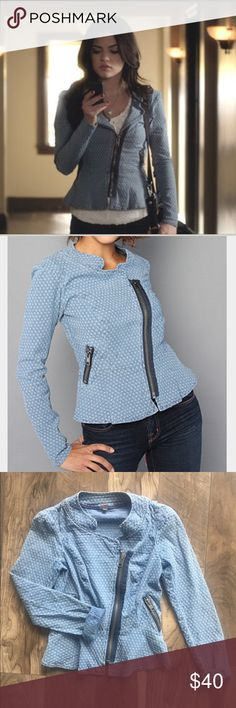 Free People Boxy Collar Jacket This beautiful light blue jacket has white details and zipper statements, as worn by Aria in pretty little liars! Asymmetrical front zipper with all over dot print. Free People Jackets & Coats