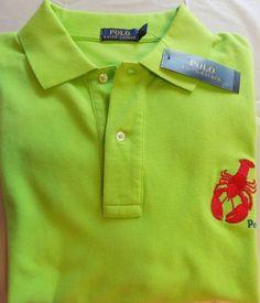 "NWT Polo Ralph Lauren NEON GREEN ""Critter""  Lobster Polo Shirt Sz XLT MSRP $125 #PolobyRalphLauren #PoloRugby"