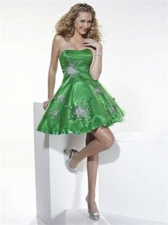 Strapless Beaded Layered Green Short Prom Dress PD0248 www.tidebridaldresses.com $123.0000