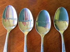 Harry Potter Slytherin, Hufflepuff, Gryffindor, Ravenclaw House hand-stamped spoons by SmashMouthDesigns on etsy.