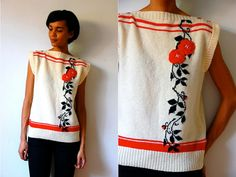 Vtg Retro Wool Floral Print Black Red White by LuluTresors on Etsy, $32.99