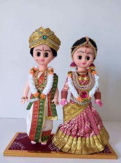 Indian dressed DOlls.... Wedding Doll, Wedding Art, Wedding Gifts, Doll Crafts, Diy Doll, Thali Decoration Ideas, Basket Decoration, Decorations, Indian Marriage