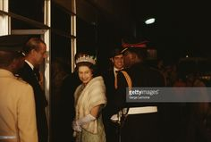 Queen Elizabeth II with Prince Andrew and Prince Philip during their state visit to Botswana, July 1979.