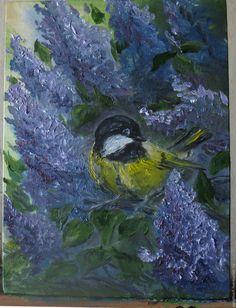Купить Синичка картина маслом - сиреневый, синичка, сирень, птичка на ветке…