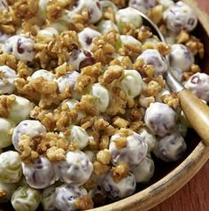 When you're bringing Creamy Grape Salad with Candied Walnuts to a party, pack the salad and the walnuts separately so the candied walnuts stay crunchy.
