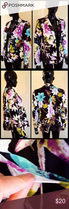 """Worthington Black Purple Floral Blazer Jacket NWTs Selling this cute floral Open Jacket.  Measurements - Length 22.5"""" - Shoulder hem to end of sleeve 23.5"""" - Chest 19""""  - Blazer in great shape. - Comes with all of its tags, paper ones are creased. - Never worn or used. - Pockets are sealed. - Very breathable. - Comes from a smoke free facility. Worthington Jackets & Coats Blazers"""