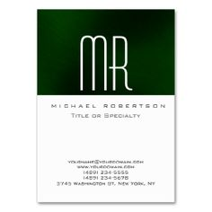 Modern Monogram White Green Clean Business Card. I love this design! It is available for customization or ready to buy as is. All you need is to add your business info to this template then place the order. It will ship within 24 hours. Just click the image to make your own!
