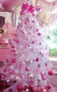 Christmas Tree - easy-to-do white tree w/ pink and lavender balls