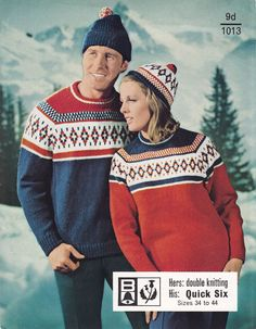 Image detail for -Christmas knitting patterns from The Vintage Knitting Lady Matching Christmas Jumpers, Ladies Christmas Jumpers, Vintage Christmas Sweaters, Xmas Jumpers, Festive Jumpers, Retro Christmas, Jumper Knitting Pattern, Hand Knitting, Ski Sweater