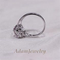 8mm Cushion Pink Morganite Ring Wedding Rings Solid14k White Gold Engagement