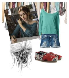 """Get the look: clary fray lily collins city of bones"" by spiveykyla ❤ liked on Polyvore featuring TOMS"