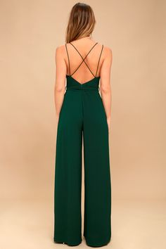 Classy Fashion Tips Hype Dream Forest Green Backless Wide-Leg Jumpsuit.Classy Fashion Tips Hype Dream Forest Green Backless Wide-Leg Jumpsuit Jumpsuit Outfit Dressy, Prom Jumpsuit, Green Dress Outfit, Formal Jumpsuit, Wedding Jumpsuit, Backless Jumpsuit, Elegante Jumpsuits, Jumpsuit Elegante, Long Jumpsuits