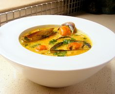 Scrumptious South Africa: Lightly Curried Mussel Soup with Fresh Coriander. VERY tasty