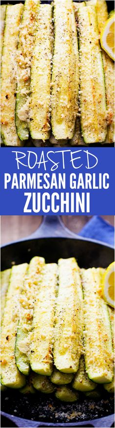 These Roasted Parmesan Garlic Zucchini Spears are full of such amazing flavor and are a great way to use up the zucchini!