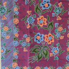 purple   flowers and blue cotton traditional by TheThailand, $17.00