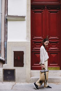 POKOJÍK / Tereza wears a blouse by Pinwheels and trousers by Conceptxy, carrying Rogoz backpack Carry On, Trousers, Pinwheels, Blouse, Backpack, Editorial, How To Wear, Traveling, Collection