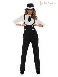 Ladies Pinstripe Gangster Suit Costume Fancy Dress Up 1920s 30s Womens Outfit
