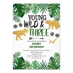 Young Wild & Three Dinosaur 3rd Birthday Invitatio Invitation 3rd Birthday Party For Boy, Dinasour Birthday, Dinosaur Birthday Party, Birthday Party Themes, Birthday Ideas, Elmo Party, Mickey Party, Birthday Board, Party Fun