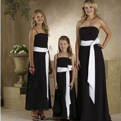 Black Bridesmaid Dress with contrasting White Sash