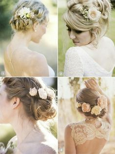 Hair styles with flowers in them. Change the flowers to merlot, garnet, kumquat, pink, and wine