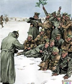The Christmas Truce-British and German soldiers celebrating Christmas 1914, in an illustration originally from The Sphere, January 9, 1915