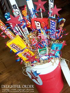 Candy arrangement for men.  Love the cooler as a container!