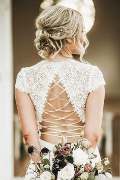 Wedding updos and detailed back dress