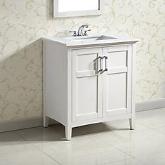 Winston 30-inch W Vanity in White Finish with Quartz Marble Top in White