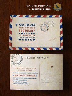 Carte Postale Save the Date | Vintage Airmail | Earmark Social
