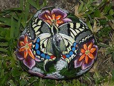Hand-painted-Beach-Rock-Swallowtail-Butterfly-Flowers-Garden-Art-Summer-Fun