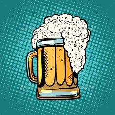 Buy Foamy Mug of Beer Pop Art Retro by studiostoks on GraphicRiver. foamy mug of beer pop art retro vector. Alcoholic drink in a pub. Realistic illustration of beer Pop Art Food, Beer Images, Desenho Pop Art, Beer Art, Hand Drawn Logo, Retro Vector, Retro Pop, Alcoholic Drinks, Illustration Art