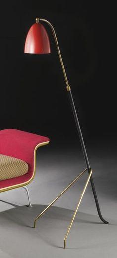 Angelo Lelli; Enameled Metal and Brass Floor Lamp for Arredoluce, c1950.