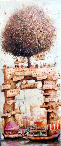 Januskevicius Remigijus - Tree on the Bridge Cool Art, Nice Art, John Muir, Book Illustration, Artist Painting, Surrealism, Art Drawings, Artsy, Sculpture