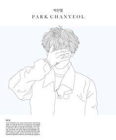 exo and chanyeol image Outline Art, Outline Drawings, Park Chanyeol Exo, Kpop Exo, Exo Album, Exo Fan Art, Kpop Drawings, Kpop Fanart, Manga Drawing