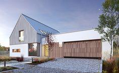 Nowoczesny 3 - wizualizacja 1 - Projekt dużego nowoczesnego domu z dachem bezokapowym Modern Residential Architecture, Architecture Design, Modern Barn House, Building A Container Home, Rural House, Cottage Renovation, Modern Farmhouse Exterior, Facade House, Exterior Design