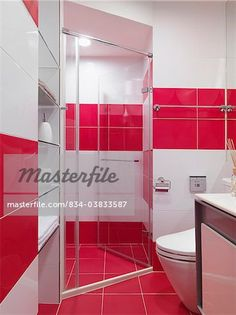 Pink and White Bathroom Tile Idea. (I would have the pink tile on the left wall match up with the other walls)