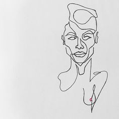 A sexy AF mix of Ruby Rose and Joan Smalls. #christinerossart #continuousline #sketch