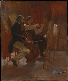 """A cellist and a violinist, probably amateur musicians, are shown practicing in an artist's studio, using easels as music stands. Whether Homer painted """"The Studio"""" during his visit to Paris in 1866–67 or later, in New York, the canvas has a French character"""