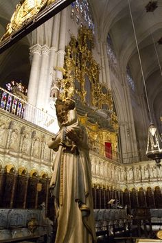Virgin Blanca - Toledo Cathedral - Spain -The smiling Virgin Blanca stands in the middle of the choir. The polychromed alabaster statue was made in the 16th Century by Villapando.
