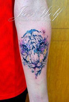 Watercolor Tiger Tattoo.  Tattooed by @javiwolfink  www.facebook.com/javiwolfink
