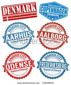 Set of grunge rubber stamps with names of Denmark cities, vector illustration