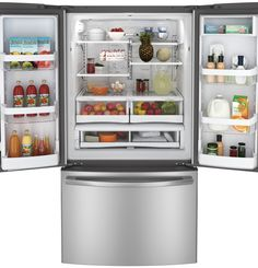 GNE26GSDSS | GE® ENERGY STAR® 26.3 Cu. Ft. French-Door Refrigerator | GE Appliances - no water/ice maker - H 69 7/8 in x W 35 3/4 in x D 36 1/4 in ($2100)