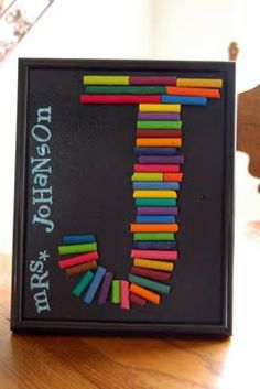 dollar store frame, stick on letters, hot glue on crayons and voila... what a cute gift!