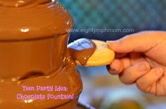 chocolate fountain,chocolate fountain,teen party foods