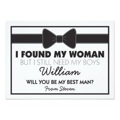 Will You Be My Best Man Black White Bow Tie 4.5x6.25 Paper Invitation Card