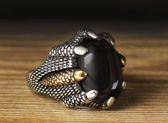 925 K Sterling Silver Man Ring Black Onyx 10 US Size B21-65064 #istanbul #Cluster