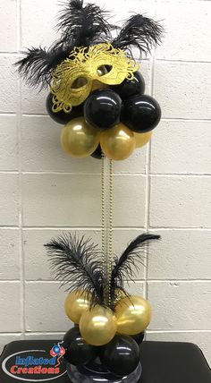 Mardi Gras Purim Masquerade Gold & Black feathers Mask centerpiece Masquerade Party Centerpieces, Masquerade Party Invitations, Masquerade Party Decorations, Masquerade Ball Party, Masquerade Theme, Mardi Gras Decorations, Balloon Centerpieces, Wedding Centerpieces, Graduation Centerpiece
